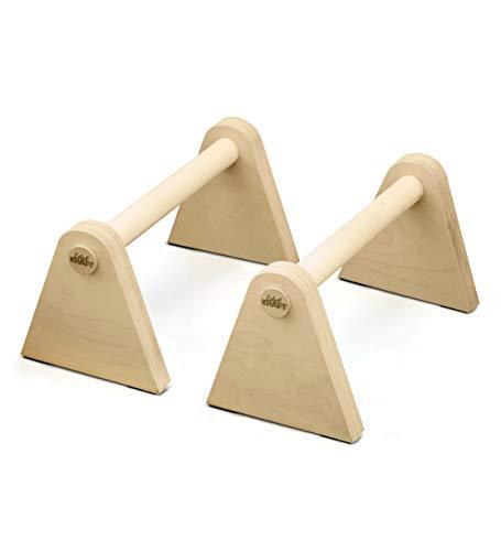 EdelKRAFT® Minibarren to go - Handstand, Push-ups, L-Sitz - Multifunktionale Parallettes aus FSC-Holz und Naturgummi