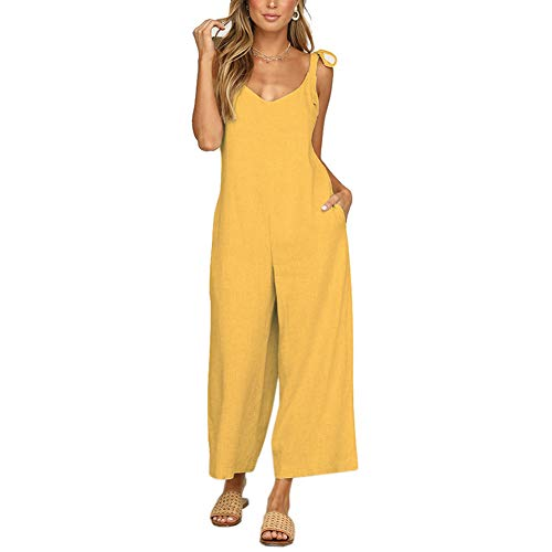 VANVENE - Mono holgado de verano para mujer con tirantes con lazo Amarillo amarillo S