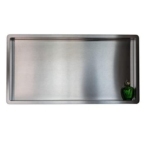 Estantes de baño   estante de ducha empotrado de pared acero inox , 60x30, nicho de ducha COMPONENDO, Made In Italy (SATIN)