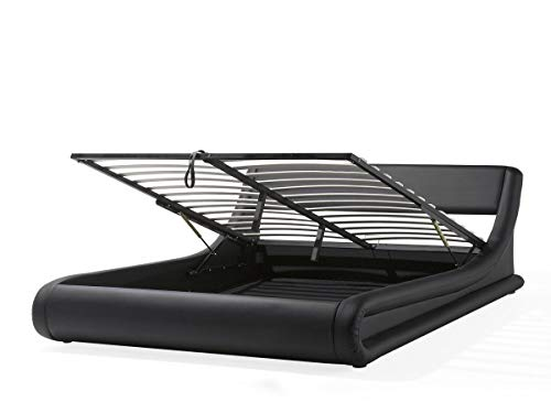 Designer Leder Bett Alicante mit Bettkasten + Lattenrahmen Lattenrost Polsterbett wellenförmiges Lederbett schwarz modern gewelltes Bett Doppelbett mit Stauraum günstig (160x200 cm)