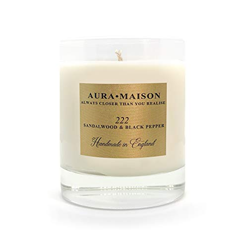 Aura Maison Scented Candle 30cl - Sandalwood + Black Pepper Elegant Scent With Essential Oil Aromatherapy - 100% Natural Soy Wax for Bath Spa Meditation, Relaxation - UK Hand Poured Medium Up To 50Hrs