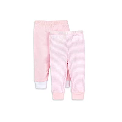 Burt's Bees Baby unisex baby Pants, of 2 Lightweight Knit Infant Bottoms, 100% Organic Cotton and Toddler Layette Set, Blossom Solid/Stripes, 0-3 Months US from Burt's Bees Baby