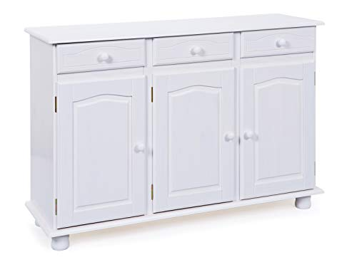 Inter Link Commode buffet bahut bas pin massif vernis blanc