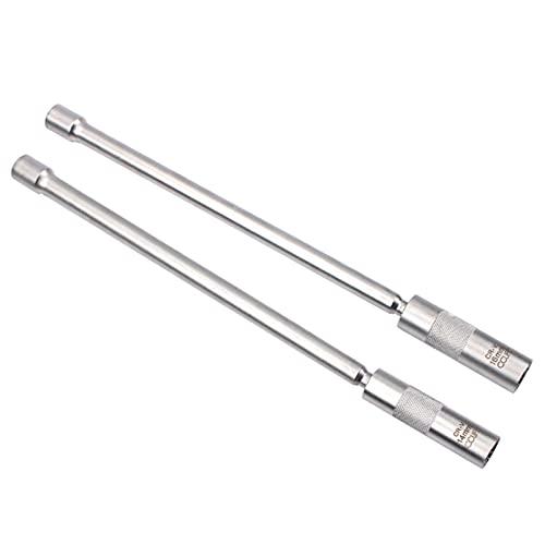CCLIFE 2tlg Magnet Zündkerzenschlüssel 3/8' Zündkerzen Glühkerzen Gelenk Schlüssel Einsatz Werkzeug SW 14mm 16mm Extra Lang 310mm
