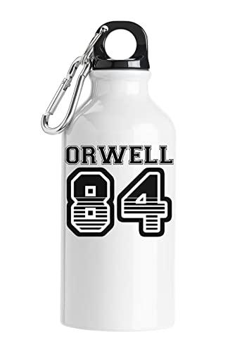Orwell 84 George Orwell Sports Team Styled 1984 Logo Bottiglia d'acqua turistica Bianca 400ml