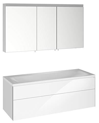 Keuco Badmöbel-Set mit Doppel-Waschtisch, Waschtisch-Unterbau mit Frontauszug, LED-Spiegel-Schrank dimmbar, mit 3 Türen, Breite 130 cm Royal Reflex
