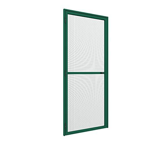 Zanzariera laterale orizzontale a Porta Battente 1 anta ultra sottile 33 mm su misura porta finestra con chiusura automatica con molla personalizzabile colori e reti Made in Italy Verde