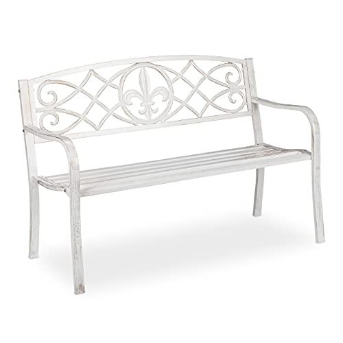 Relaxdays Gartenbank, stabile Parkbank aus Metall, Sitzbank mit gusseiserner Lehne für draußen, 86x127x57cm, weiß/Bronze 10036086