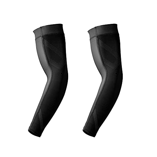 Lohca Arm Sleeve UV-Schutz Ärmlinge Kompression Rutschfest Kühler Band Sommer Armstulpen Alltag & Sports, Schwarz L