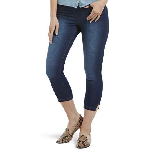 HUE Women's Ultra Soft Denim Jean Capri Leggings, Slit Hem/Ink Wa, Medium