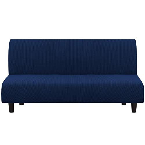 Turquoize Stretch Futon Cover Full Size Armless Sofa Futon Slipcover Navy Jacquard Futon Bed Cover Stylish Furniture Cover/Protector for Futon with Elastic Bottom Machine Washable (Futon, Navy)
