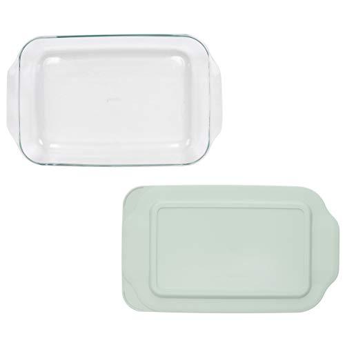 Pyrex (1) 233 Oblong Rectangle Clear Glass Casserole Baking Dish & (1) 233-PC Sage Green Lid