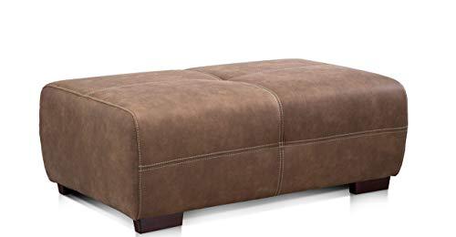 Cavadore Hocker Mavericco / Brauner Hocker in Lederoptik / Industrial Style / Passend zu Big Sofa und Ecksofa Mavericco / 108 x 71 x 41 cm (BxHXT) / Mikrofaser Nougat