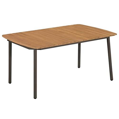 Ghuanton eettafel tuin massief hout acaciahout en staal 150 x 90 x 72 cm meubels voor buiten
