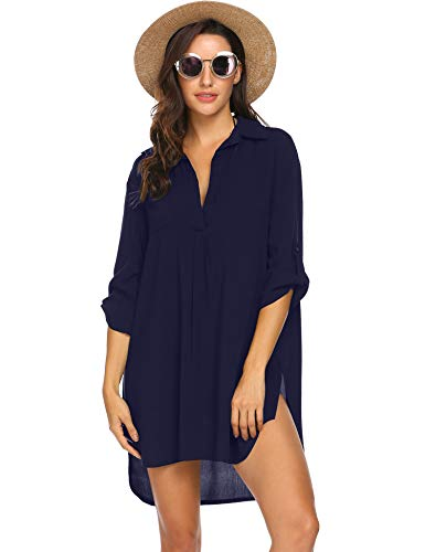 Ekouaer Womens Chiffon Tassel Beachwear Stylish Swimwear Bikini Swimsuit Cover up Navy Blue