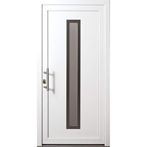 HORI® Haustür Lyon I Kunststoff Haustüre mit Glaseinsatz I Weiß I Größe 2100 x 1100 mm I DIN links
