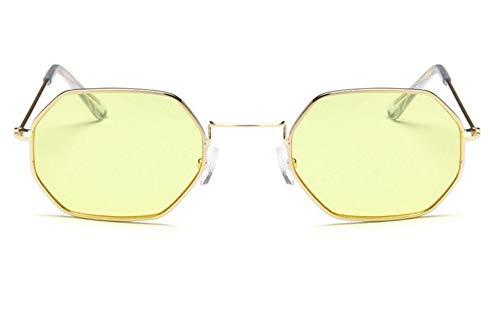 MOJINGYAN Zonnebril Polygon Zonnebril Vrouwen Mannen Ontwerper Vintage Zonnebril Goud Heldere Zonnebril Paar Oogkleding Kleine Tinten Geel