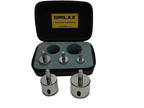 Drilax Diamond Hole Saw Drill Bit Set Long 3/4, 1, 1-1/4, 1-1/2, 1-3/4 Inch Ceramic Porcelain Tile Glass Granite Insert Guide Included