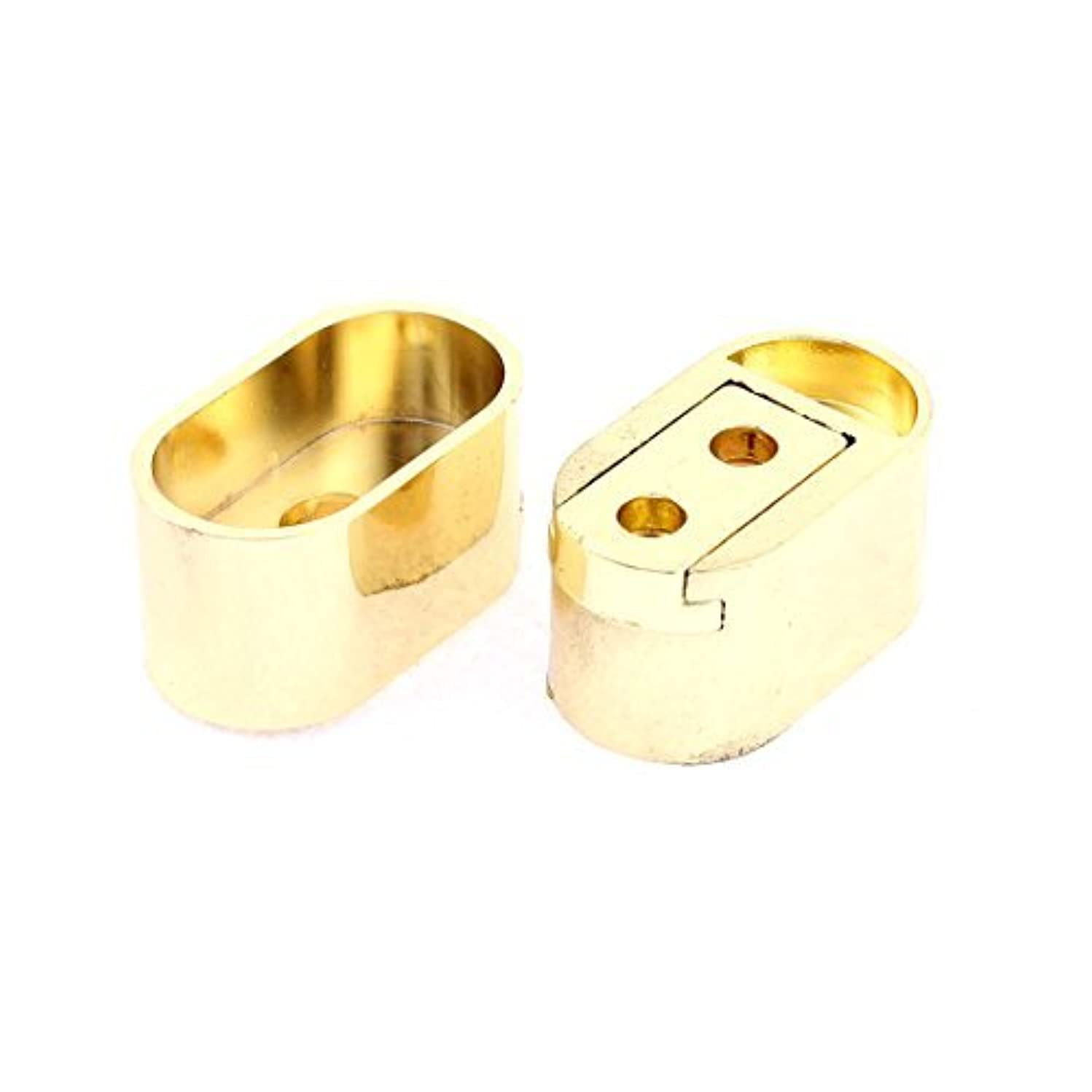 DealMux Clothes Closet Rod Flange Titular Bracket Tone 2pcs ouro