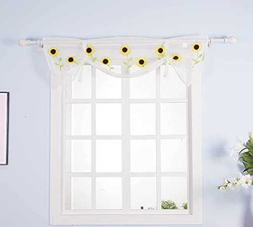 Molaxhome Sunflower Kitchen Curtain Valances 52x18inch, Embroidery Flower White Sheer Lace for Windows(White Lace, 52x18 inch)