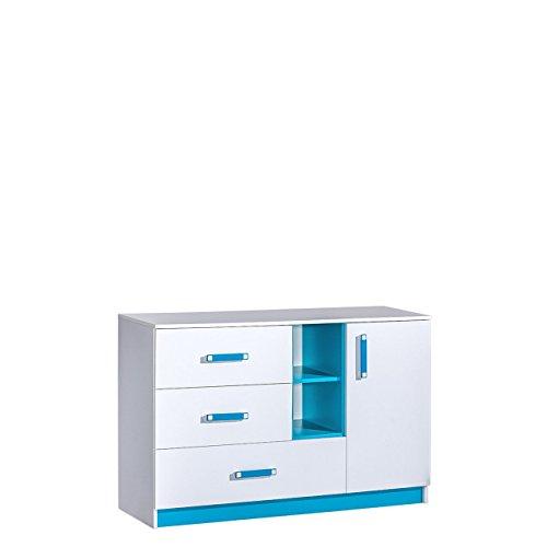 Mirjan24 Kommode 130 Trafiko TR07 mit 3 Schubladen und Tür, Schubladenkommode, Sideboard, Highboard, Mehrzweckschrank für Jugendzimmer, Farbauswahl (Weiß/Weiß + Türkis)