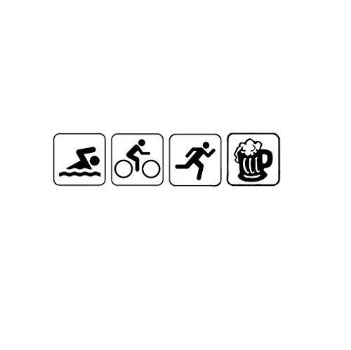 ZYFAOZHOU Lustige Auto Aufkleber Triathlon Schwimmen Bike Run Und Bier Auto Aufkleber Vinyl Silhouette