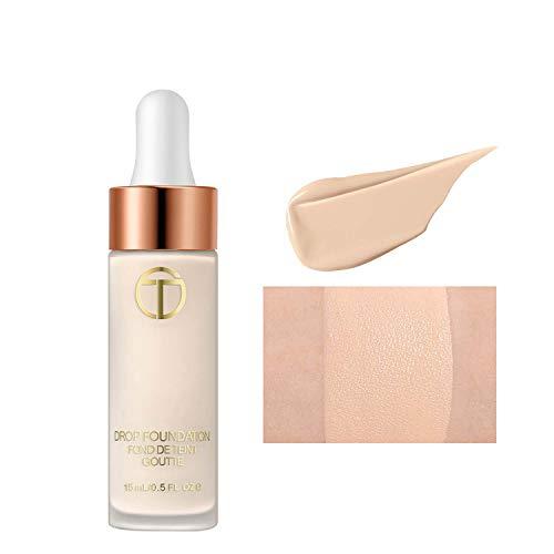 Fondotinta liquido adatto per la pelle bianca, crema per fondotinta impeccabile, effetto idratato e senza peso, avorio, 15 ml (01 bianco avorio)