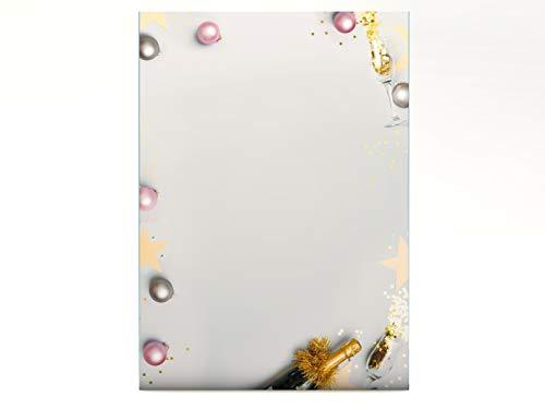 Weihnachtsbriefpapier Silvesterparty, 20 Blatt DIN A4