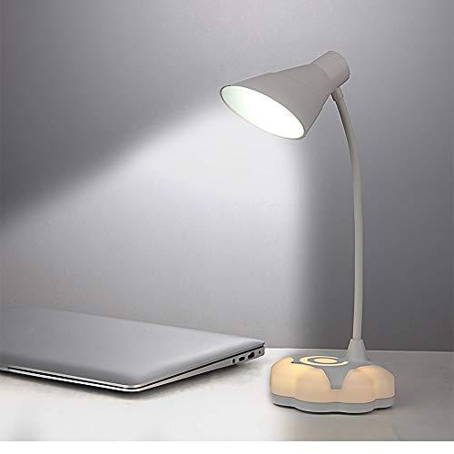 Montloxs Lámpara de escritorio LED Lámpara de mesa de cuello de cisne flexible con 3 niveles de brillo Modo de luz nocturna