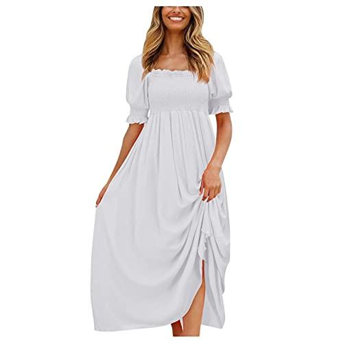 TGTB Vestido de playa largo y corto para mujer con mangas abullonadas y volantes de cintura alta