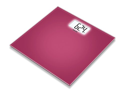 Beurer GS-208 - Báscula de baño de vidrio, pantalla LCD, color frambuesa