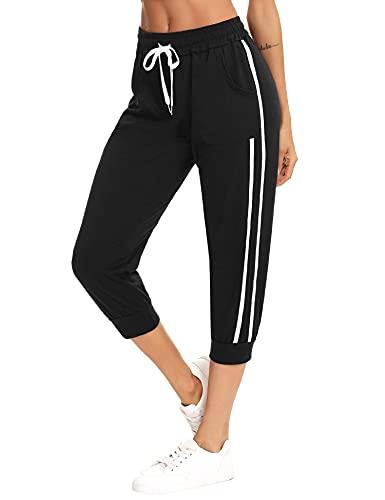 Sykooria Jogging Femme d'Été Pantalon Sport Femme Taille Haute Femme 3/4 Pantalon de Survêtement Femme Décontracté(L-Noir,L)