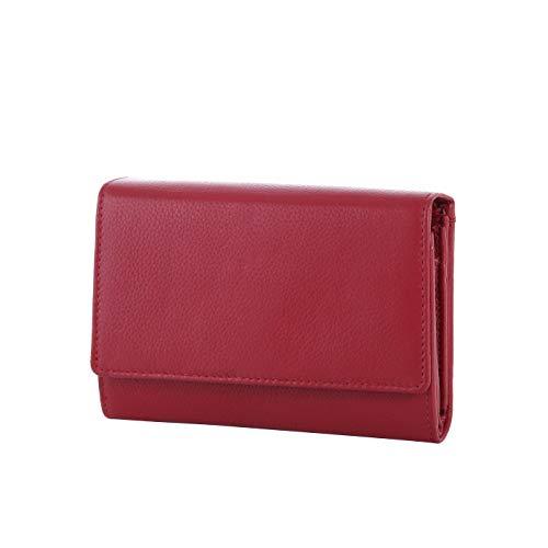 Rada große Geldbörse für Damen mit vielen Fächern - 20 Kreditkartenfächer - 5 Steckfächer - 2 Reißverschlussfächer - Portemonnaie aus Kunstleder (rot)