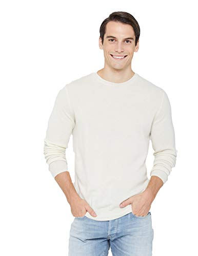 State Cashmere Men's Essential Crewneck Sweater 100% Pure Cashmere Classic Long Sleeve Pullover (Medium, White)