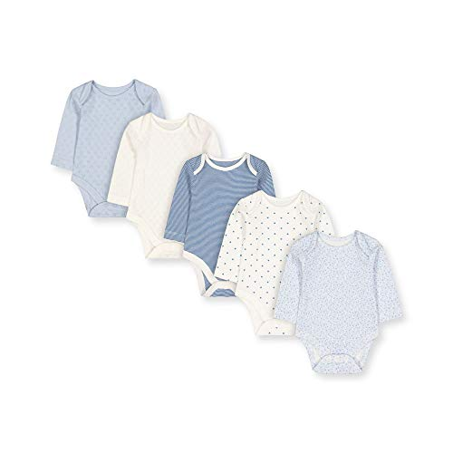 Mothercare G Pretty 5pk Bodysuits LS Body, (Pale Blue 23), Early Baby (Size:2.3) para Bebés