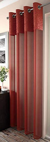 "Mirabel Elegant Crushed Sheer Window Curtain Panel with Eyelet Grommet Top 55"" Wide x 72"" Drop Silver"