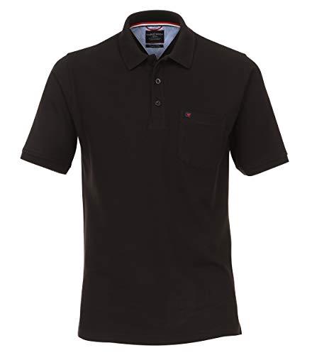 CASAMODA Herren Polo-Shirt unifarben Brusttasche, Schwarz (Schwarz 80), L