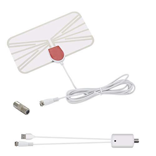 Hemobllo - Antena de TV para interior (amplificador, amplificador digital HDTV, amplificador, para TV en casa), color blanco