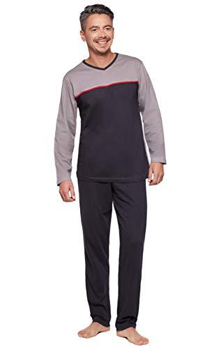 Moonline moderner und bequemer Herren Schlafanzug/Frottee-Pyjama/Shorty, mit weicher Baumwolle, grau-anthrazit, Gr. XXL (56)