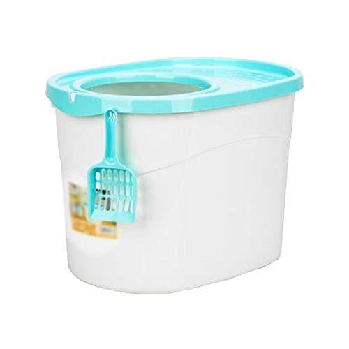 jinrun Sanitario Gatos Caja de Arena de Gran Capacidad Completamente Cerrada Cubierta Superior del Inodoro for Gatos Arena con Fugas Multicolor Opcional Cat Litter Box (Color : Blue)