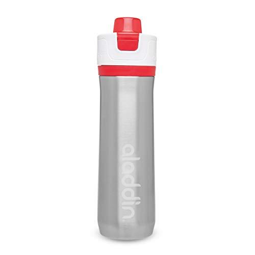 Aladdin Active Hydration Thermavac Stainless Steel Water Bottle 0.6L Rot – Mehrwegwasserflasche - Auslaufsicher - Doppelwandige Vakuumisolierung - Hält 10 Stunden Kalt - BPA-Frei - Spülmaschinenfest