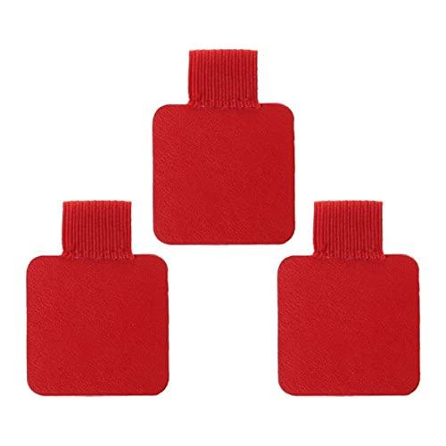 3pcs Cuadrado Autoadhesivo Cuero Pluma Clip lápiz elástico elástico para Cuadernos revistas portátiles portapapokes Bollo Titular (Color : Red)