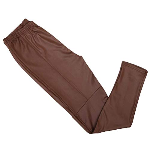 TENDYCOCO Damen Stretchy Kunstleder Leggings Hose schwarz hoch taillierte Strumpfhose Winter warme Leggings - Größe XL (braun)