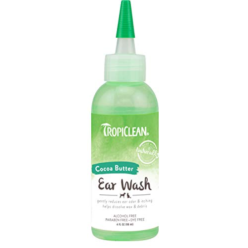 TropiClean Alcohol Free Ear Wash for Pets, 4oz - Made in USA - Ear Cleaning Solution for Dogs & Cats - Gently Dissolves Wax & Debris - Eliminates Odor - Soothes Itching & Infection - No Alcohol
