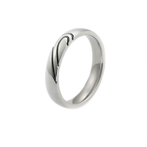 Epinki Damen Titan Stahl Ringe Puzzle Herz Heiratsantrag Ring Damenringe Titanringe 4MM