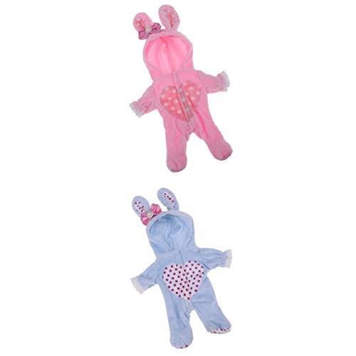 Amagogo 2 Pezzi di Flanella con Cappuccio Tuta Pagliaccetto Coniglio per Bambole Mellchan Blu / Rosa