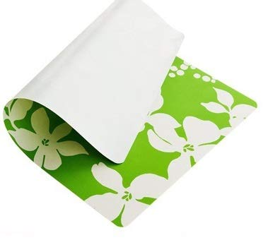 MZD Easy-to-Clean Table Mats Kitchen Placemats Plastic Meal mat for Have Meals Size 43X28 cm Flower Pattern 4pcs/1set (Green)