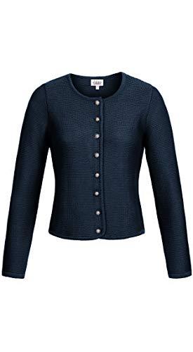 Nübler Trachtenstrickjacke Anni Dunkelblau, Taillierter Schnitt, Strickjacke für Dirndl und Lederhose, Trachtenjacke Damen Blau Gr. 34