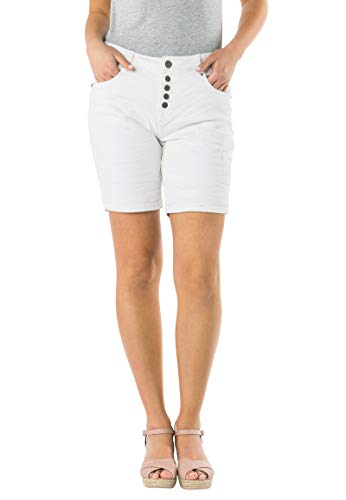 Eight2Nine Damen Bermuda Shorts mit Knopfleiste White L