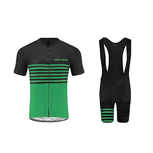 Uglyfrog Ropa Ciclismo MTB Racing Team Verano para Hombre - Un Conjunto de Ciclismo Camiseta Carta Jersey Maillot y Culotte Bib Pantalones Cortos FAX19DT02